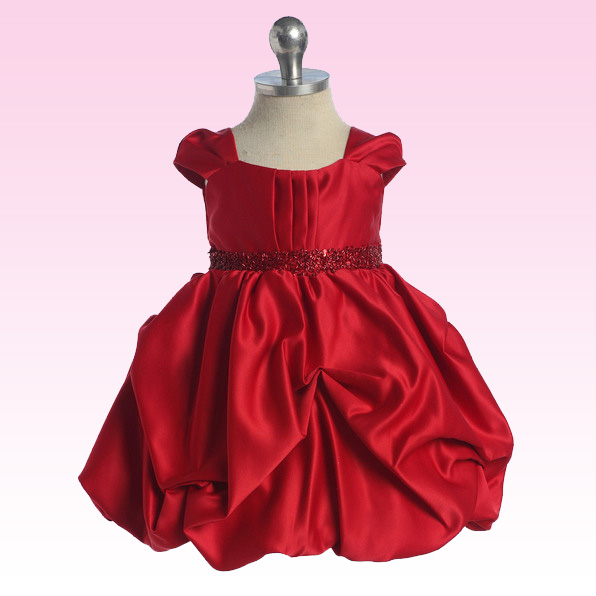 Red Satin Baby Dress